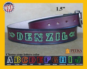 Leather Belt - Tooled Leather Belts - Custom Belts Made in USA - Mahogany Belt Personalized - Unique Leather Belts - Embossed Leather Belt