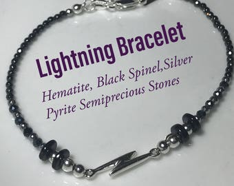 Blitz-Armband - Sterling Silber Blitz und Halbedelstein Perlen, Sturm, Gott des Donners, Blitzschlag Armband