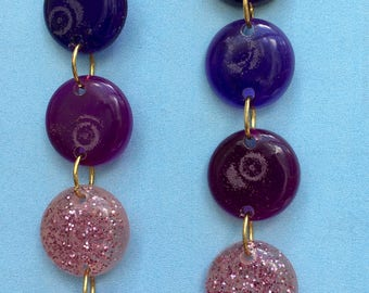 Resin Round Statement Earrings - Purple Mix