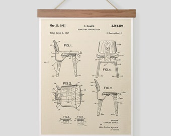 Vintage Eames Wood Chair Patent Pull Down Chart