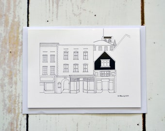 A greeting card featuring a pen drawing of St Albans