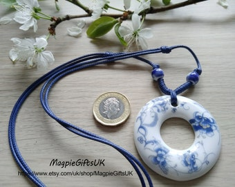 Porcelain necklace, Blue pattern ceramic necklace, Porcelain pendant, Clay Necklace, Gift for Women, Ceramic Jewelry, Clay Pendant
