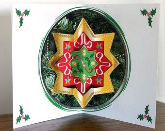 Christmas pop up card 3D Star ornament pop up