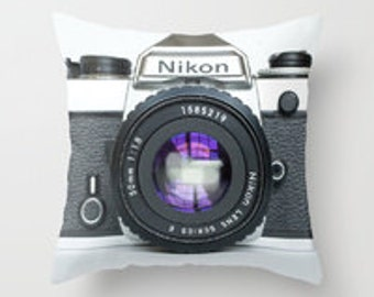 Vintage Nikon Camera Throw Pillow Cover Home Decor Camera Photographer Decorative Pillow Fine Art Photography Photograph Accent Pillow
