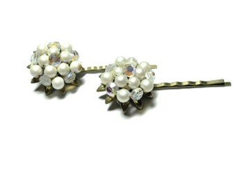 Pearl Hair Pins with Aurora Borealis Upcycled Bridal Wedding Bobby Pins