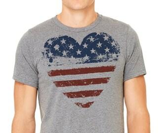 July 4t T-shirt, Gray T-shirt,Man's t-shirt, Patriotic shirt,Hart shirt, American flag, American flag shirt