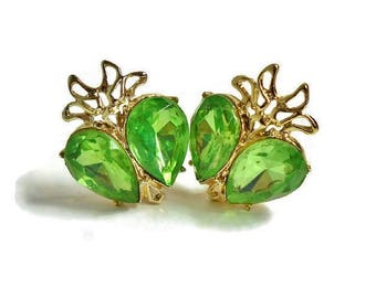 Vintage Green Glass Rhinestone Earrings DODDS Designer Signed Gold Clip Backs Huge Pear Shape Stones, Peridot Green Color