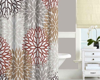 Brown Shower Curtain, Red, Beige, Gray Bathroom Curtains, Unique Shower  Curtain,