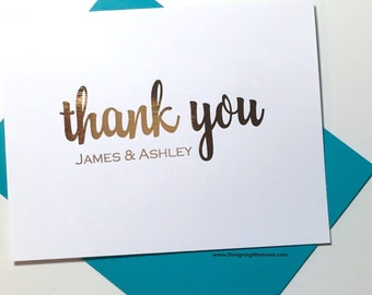 Rose Gold Foil Couples Thank You Cards - Personalized Wedding Thank You - Gold Foil Stationery - Calligraphy - Wedding Thank You Cards DM133
