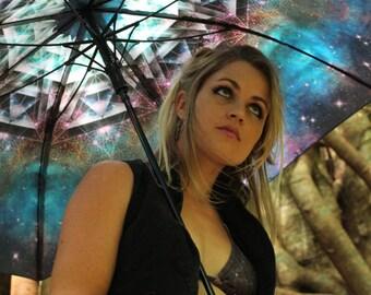MERKASTAR Crystalotus print Umbrella, shade umbrella, wedding umbrella, galaxy umbrella, festival umbrella, parasol, beach umbrella, merkaba