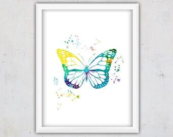 Watercolor Butterfly Print, Nursery Archival Print, Digital Print, Insect Print, Modern Kids Art, Download Art, Instant Poster,Printable Art