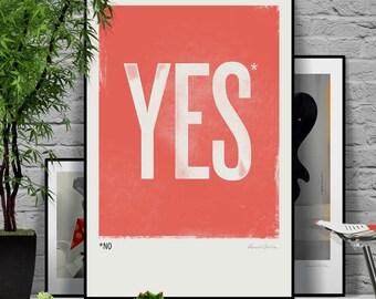 Yes (No). Original illustration art poster giclée print signed by Paweł Jońca.