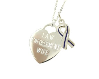 Silver Police Wife Blue Line Necklace - (Free Shipping)