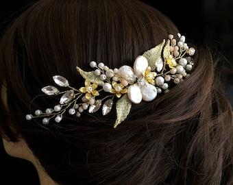 Autumn Wedding Headpiece, Autumn Wedding Hair Comb, Gold Bridal Hair Comb, Wedding Hairpiece