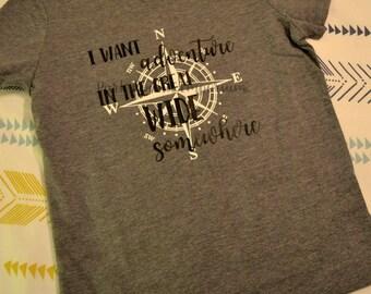 I Want Adventure shirt, Beauty and the Beast, Disney shirt, Belle shirt, Compass shirt, Adventure shirt, kids disney shirt, kids belle shirt