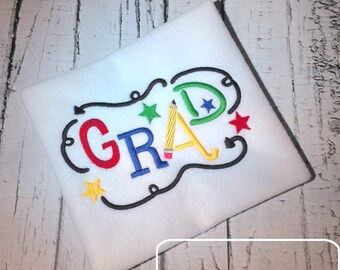 Grad word Embroidery design - graduation embroidery design - graduate embroidery design - grad embroidery design - Senior embroidery design