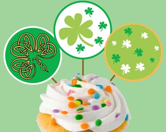 Instant Download Saint Patricks Day Irish Party Cupcake Toppers Craft Circles