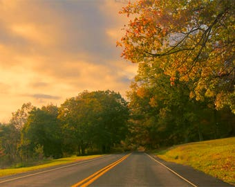 Autumn Countryside Road Photo, red, yellow, blue, orange, fine photography prints, Appalachia
