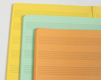 Music Score Notes Traveler's Notebook Insert, Midori inserts, Premium notebooks - 5 sizes and 19 solid colors[N030 Music Paper]