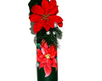 Red Poinsettia Christmas Upcycled Wine Bottle Holiday Home Decor Gift Handmade Holidays Party House Warming