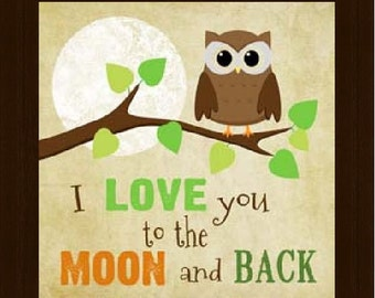 I Love You To The Moon And Back Beige Owl Framed Picture