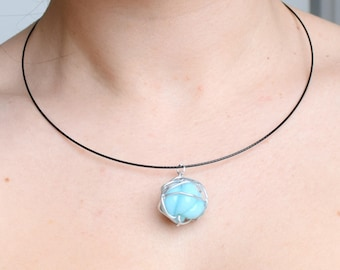 Pearl pendant necklace, turquoise blue and aluminum wire