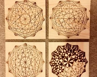 Geometric Woodburned Art