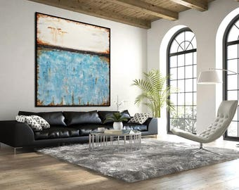 Original Large Square Abstract Painting 48 x 48 white blue Contemporary Art Modern Acrylic Turquoise Painting by L.Beiboer
