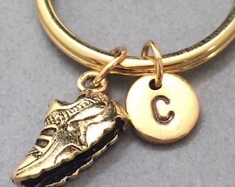 Running shoe keychain, running shoe charm, shoe keychain, personalized keychain, initial keychain, initial charm, customized, monogram