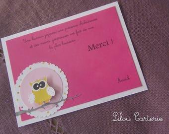 OWL birth baptism thank you card