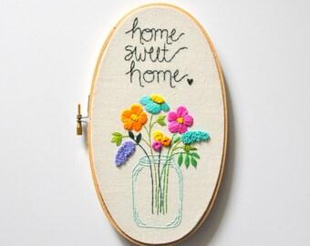 Home Sweet Home Sign. Custom Housewarming Gift. Personalized Housewarming Gift. Hostess Gift. For the Hostess, Floral Home Sign KimArt