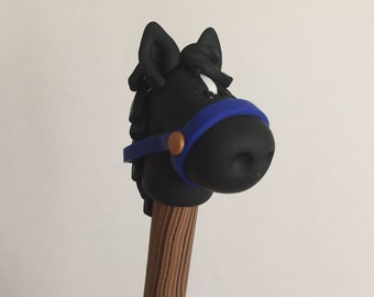 Black Polymer Clay Horse Pen