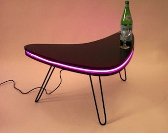 Boomerang LED Art MidCentury Modern Design Coffee Table with Hairpin Steel Legs