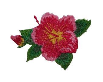 ID 6310 Pink Hibiscus Flowers Patch Hawaii Tropical Embroidered Iron On Applique