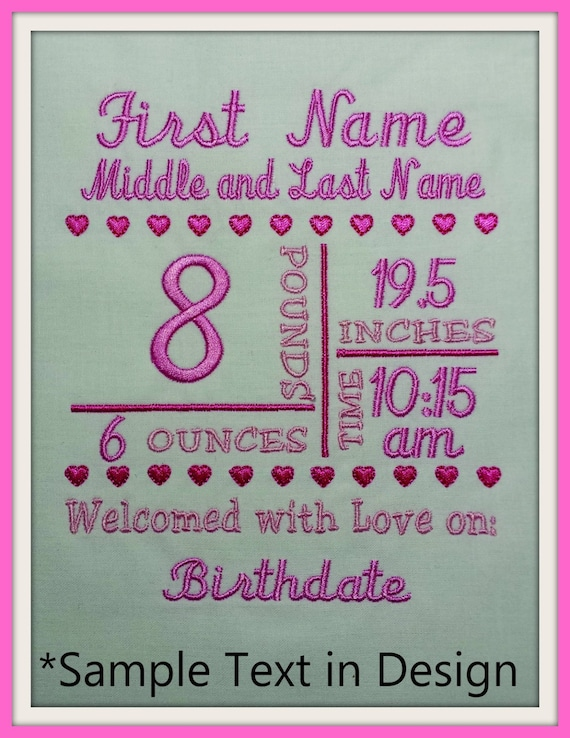 X Birth Announcement Template Machine Embroidery File