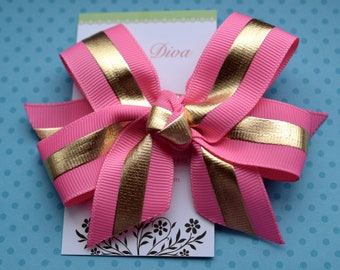 Pink with Golden Stripe Classic Diva Bow