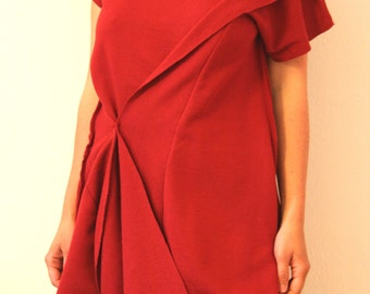 Red cotton tunic with new design cut