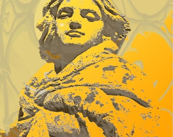 Woman Statue Digital Photo, Art Deco, Download, Fine Art Print, Photograph, Wall Art, Orange Yellow  6 x 8 inches