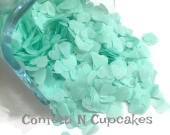Mint Heart Confetti, Heart Tissue Paper Confetti, Mint Tissue Hearts, Table Scatter, Confetti Balloon, wedding decor, wedding toss