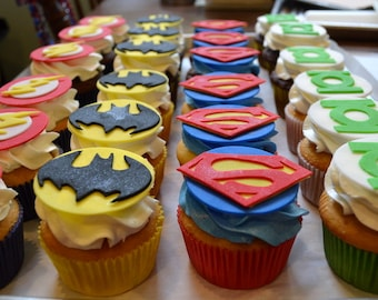 Superhero Fondant Cupcake Toppers