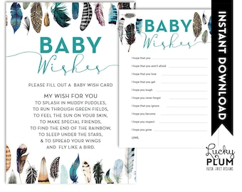 Feather Baby Shower Baby Wishes / Boho Bohemian Baby Wishes / Bird Baby Wishes / Aztec Tribal Baby Wishes / DIY Printable /  *Digital file*