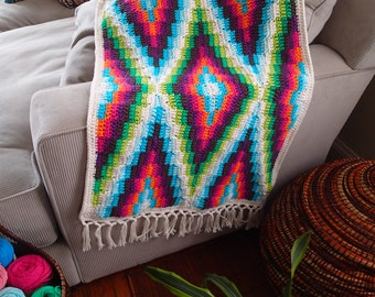 Modern Bohemian Baby Blanket Crochet Pattern, PDF Instant Download, Non-Profit Shop, Baby, Stroller, Car Seat, Afghan, Rug