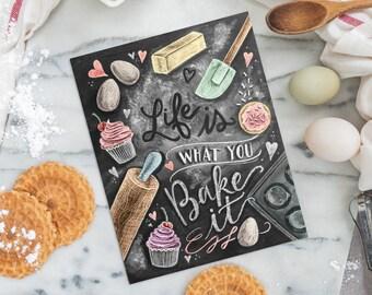 Küche Dekor - Küche Tafel Kunst - Geschenk für die Baker - Backen Kunst - Küche-Kunst - Druck - für die Bäckerei - Bäckerei Illustrationskunst
