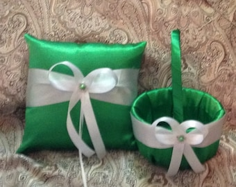 green custom made flower girl basket pillow set