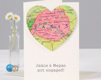 Personalised map heart location Valentines - Wedding card - Valentine's card - engagement card - Anniversary card - card for wife