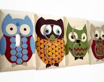 Owl Light Switch Plate - Boys Woodland Nursery - Woodland Outlet Covers - Owl Switchplate - Baby Boy Nursery Decor - Woodland Bedroom