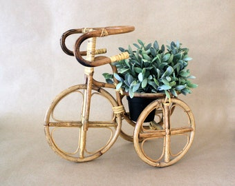 Rattan Plant Stand . Cane Plant Holder . Planter . Front Porch Decor . Tricycle Bike Planter . Modern Farmhouse Decor . Flower Pots .
