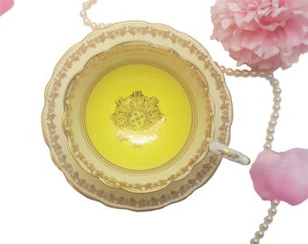 Yellow Royal Stafford Teacup with Lots of Gold Gilding, Made in England, Bone China