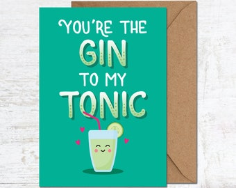 Gin Tonic Birthday Card, Gin Lover Gift, Funny Birthday Card, Cute Birthday Card, Alcohol Card, Friend Birthday Card, Boyfriend Birthday
