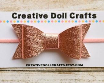 Rose Gold Doll Bow, Doll Headband, Doll Hair Bow, 18 Inch Doll, Doll Hair Accessory, AG Doll Headband, Doll Bow Headband